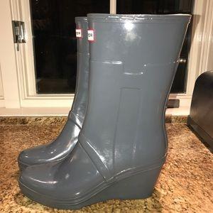 Hunter Boots wedge heel grey- Adorable!!!